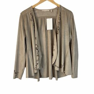 Soft Surroundings beige faux suede jacket NWT